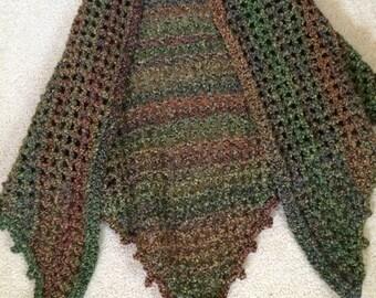 Multi colored crocheted shawl