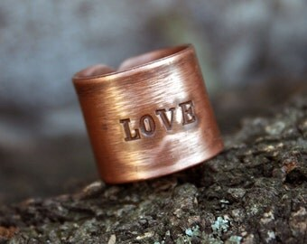 Love ring - Words ring - Letters ring - Text ring - Hope copper ring