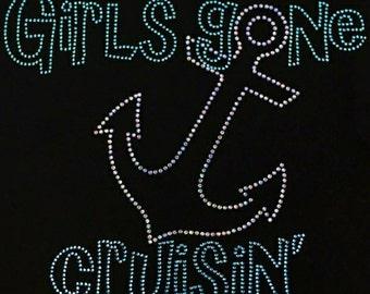 """Cruise, Bling, Rhinestone """"Girls Gone Cruisin"""" T-Shirt"""