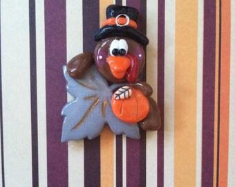 Handmade Polymer Clay Thanksgiving Turkey Pin