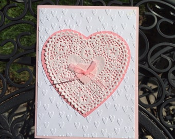 Pink Heart Doily card, handmade card, embossed card, Weddings card, Anniversary, Valentines Day card, Elegant Birthday Card, Pink Heart card
