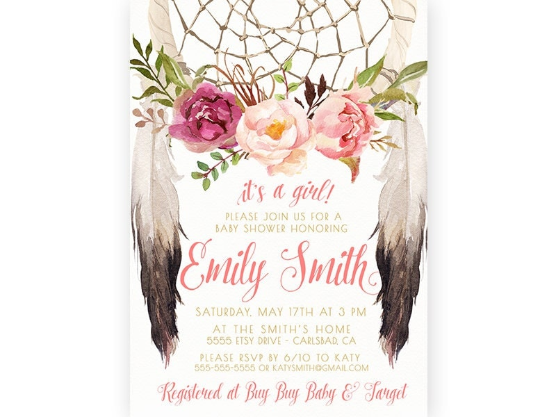 boho baby shower invitation girl dream catcher watercolor