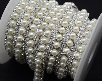 1 yard costume pearls rhinestone applique trims silver