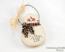 Wooden Snowman  Ornament - Christmas Decor, Country Primitive, Personalized Ornament, Snowman, Snowmen Ornament, Wooden Snowman, Wreath