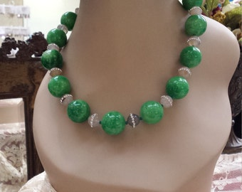 One strand jade and jasper necklace