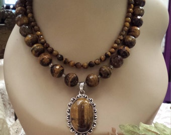 Two strand tiger eye necklace with sterling silver tiger eye pendant