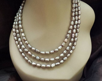 three strand freshwater pearl necklace