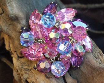 Vintage pink, purple and blue faceted  crystal brooch