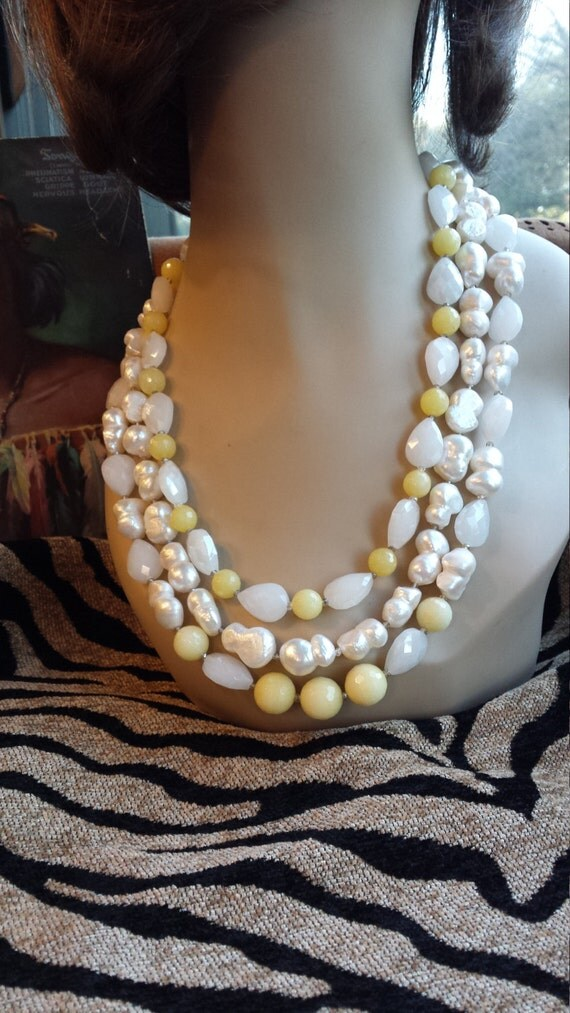 Three strand freshwater pearl, yellow faceted jade and faceted cut glass artist beads