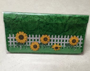 SUNFLOWERS IN BLOOM - Vinyl Checkbook cover,Scrapbook style,Duplicate or Single Checks, No wait Ready to Ship