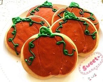 Thanksgiving and Halloween cookies--Autumn cookies--Homemde royal icing decorated pumpkin Vanilla Sugar Cookies-Holiday cookies---one dozen