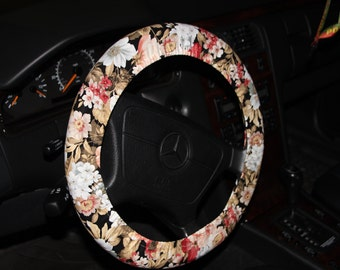 Black Floral Steering Wheel Cover - Neutral color flowers wheel cover - Car accessories - Women's wheel cover .