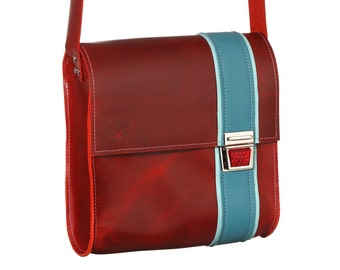 Multicolored leather bag of Haeute, exceptional purse with reflector