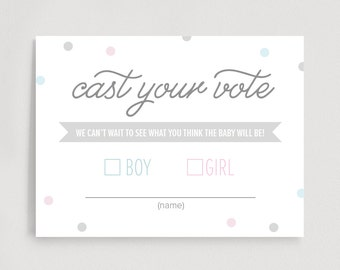 Gender Reveal Voting Cards, Cast Your Vote, Gender Reveal Party Games, Baby Shower Games, Boy or Girl, PDF Instant Download #BPB214