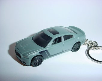 3D 2011 Dodge Charger R/T custom keychain by Brian Thornton keyring key chain finished in grey/black color trim diecast metal body