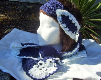 Blue and White Headband & Scarf Set - Adult
