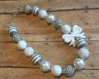Bubblegum Necklace - kids Bubblegum necklace - girls chunky necklace - White and silver necklace - sparkle necklace