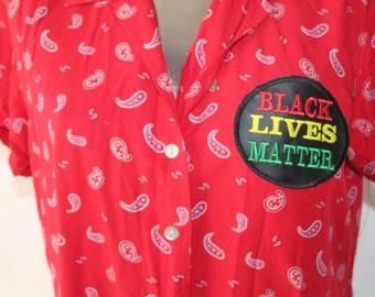 Red Upcycled Paisley Black Lives Matter shirt