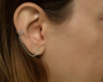 Silver Ear Cuff earring chain.ear cuffs earring. ear cuff sterling silver. earcuff. boho. ear cuff chain. chain ear cuff. ear cuff silver.