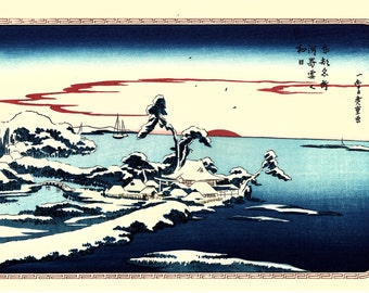 "Japanese Ukiyoe, Woodblock print, antique, Hiroshige, ""Snow on New Year's Day at Susaki"""