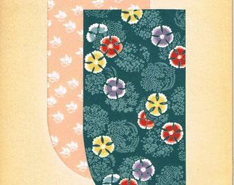 Japanese antique woodblock print, Kimono Design, Kano Shuho, Kunisada-gonomi.