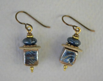 Blue Glazed Stoneware Bead Earrings with Dumorterite Rondelle and Brass Beads