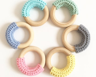 ANY 2 ETERNITY TEETHERS, Eco-friendly, Crochet Wood Teething Ring Toy, Baby Teether