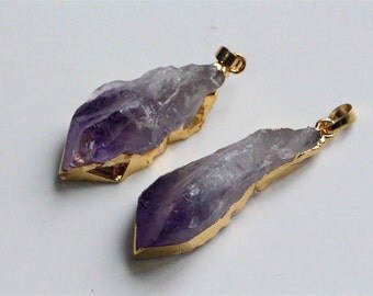 Natural raw amethyst pendant,natural gemstone pendant with gold plated edge,jewelry making supplies