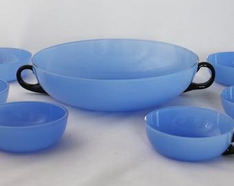 Tango blue glass dessert bowls set