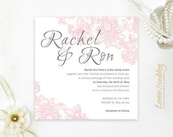 Square wedding invitations printed | Blush pink and grey wedding invites | Cheap wedding invitations | Engagement party invitations