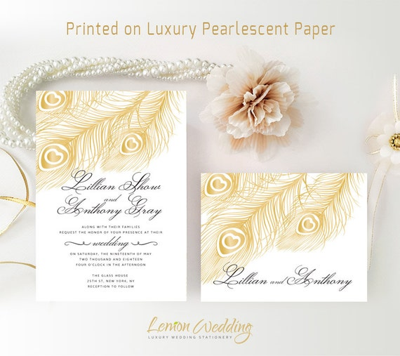 peacock wedding invitation kits printed shimmer paper elegant classy