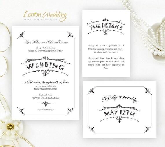 Simple Wedding Invitations RSVP Postcards Details Card
