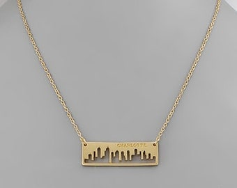 Charlotte , North Carolina City Skyline Necklace