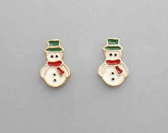 CLEARANCE - Tiny Snowman Stud Earrings