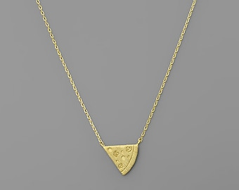 Gold Pizza Slice Necklace