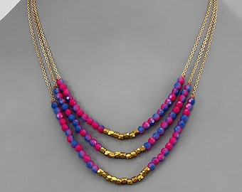 Purple & Pink Stone Layer Necklace