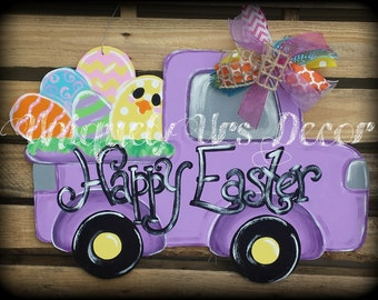 Easter Truck Door Hanger, Door Hanger, Easter Door Hanger, Chick Door Hanger, Egg Door Hanger, Easter Eggs
