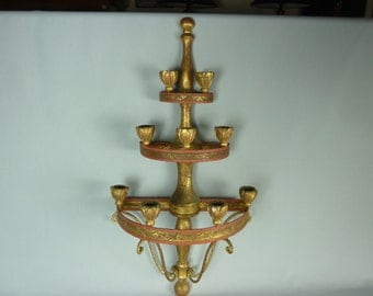 Antique Metal and Wood Sconce/Candelabra with 9 Candles
