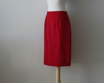 Sale Vintage 1980's Cherry Red Wool Knee Length Pencil Skirt/ 6 petite
