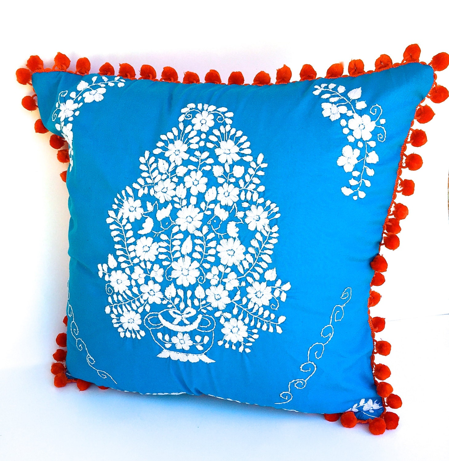 Embroidered mexican wedding dress pillow by thebirdandpear