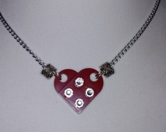 Lego Heart Necklace: Dark Red Brick with White Swarovski Crystal