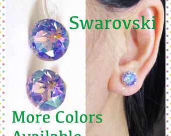 8mm AB Purple Crystal Clip on Earrings |C10s| Wedding Clip earrings Bridal Clip-ons Swarovski Rhinestone Clip Earrings Magnetic Earrings Alt