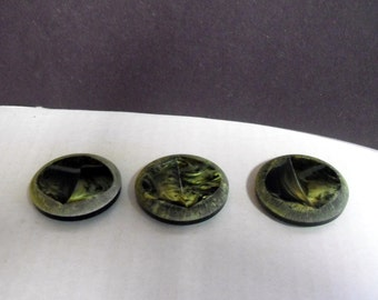 3 Green coat Buttons