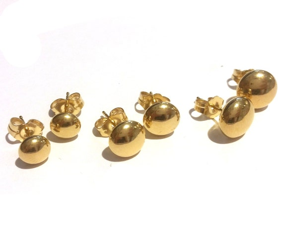 14K Solid Yellow Gold Flat Ball Stud Earrings 6-8 by ...