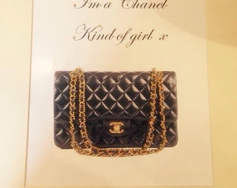 framed 14 x 11 diamante chanel handbag picture im a chanel kind of girl