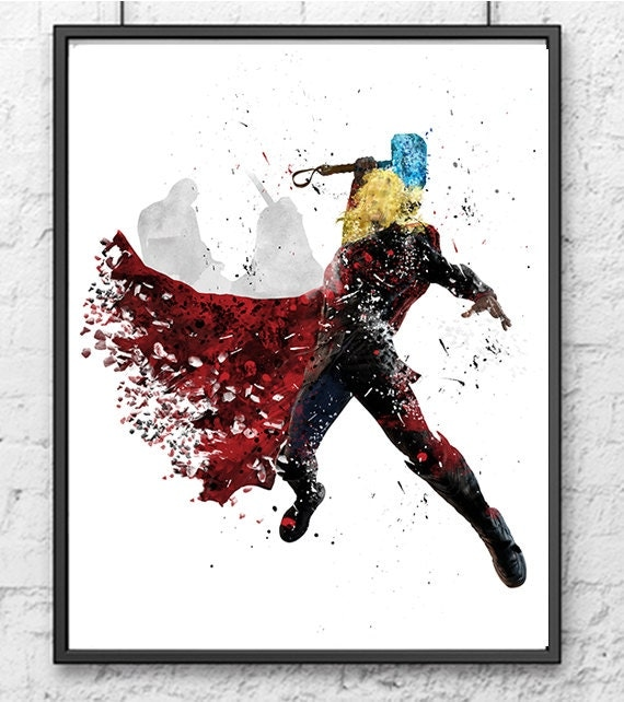 Thor Watercolor Print Avengers Poster Superhero By