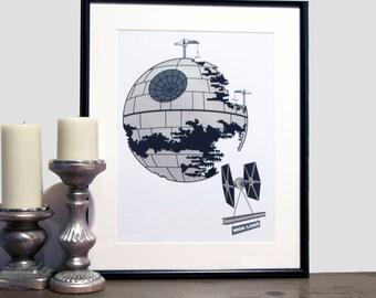 STAR WARS // Death Star Print // 12 x 16 Screen Print