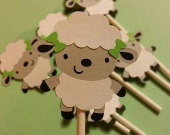 Lamb Cupcake Toppers, lamb birthday party, sheep cupcake topper, sheep baby shower, Easter decorations, lamb birthday, lamb theme, lamb cake