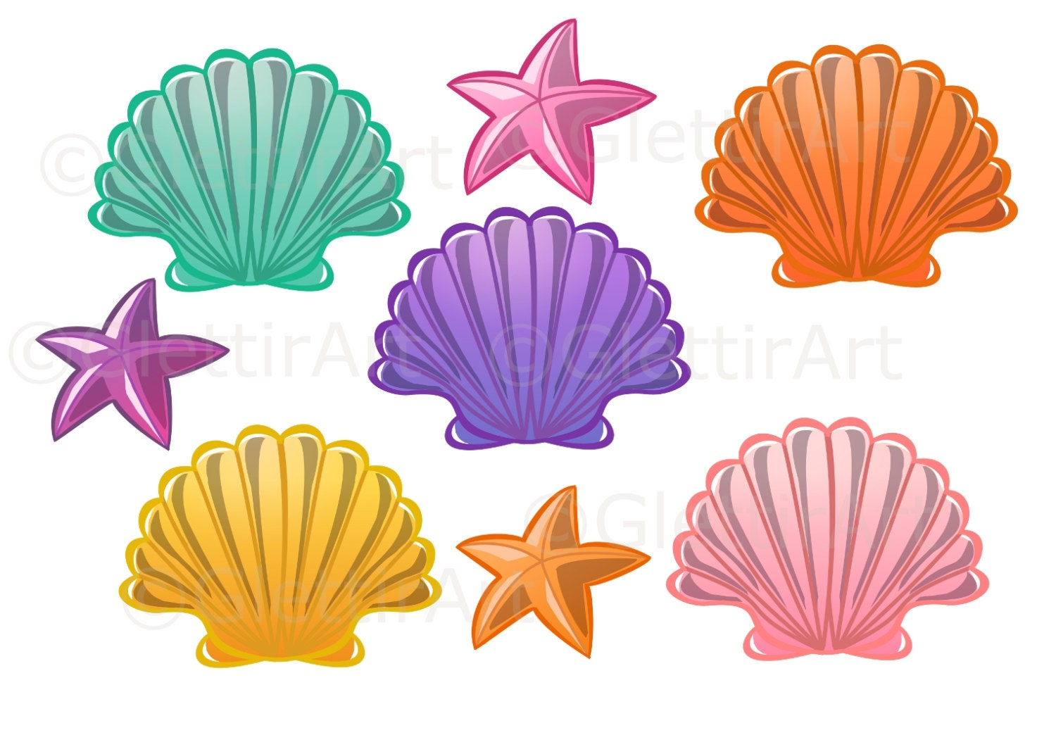 Seashell clipart Sea Shell clipart for personal and