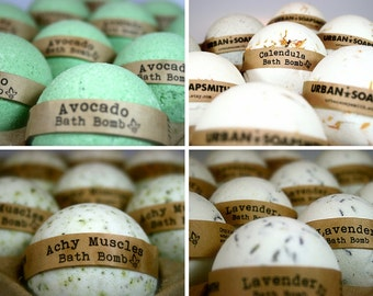 Bath Bomb Set (4), Achy Muscle, Avocado, Calendula & Lavender Bath Fizzies, All Natural Bath Bombs, Fathers Day Gift